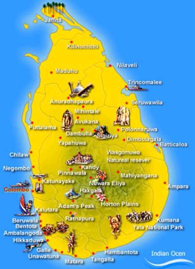 Carte Sri Lanka Tourisme.Sri Lanka Carte Touristique