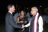 Minister Counsellor, Mr. Jean-Marin Schuh shake hands with senoir BJP leader, Dr. Murli Manohar Joshi