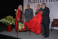 {Ramayana de Valmiki} was launched by (L to R) Publisher Diane de Selliers, Hon'ble M. P. and President, Indian Council for Cultural Relations, Dr. Karan Singh, French Minister of Foreign and European Affairs, Mr. Alain Juppé and Mewar of Udaipur, H.R.H. Shriji Arvind Singh