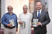 """Young Tagore"" being launched by Prof. Harish Trivedi, Dr Sudhir Kakar and Mr François Richier, Ambassador of France to India."