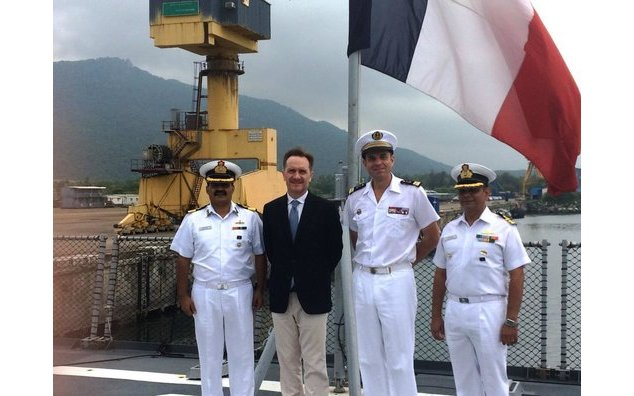 Representatives from the French and Indian navy with the Consul General of France