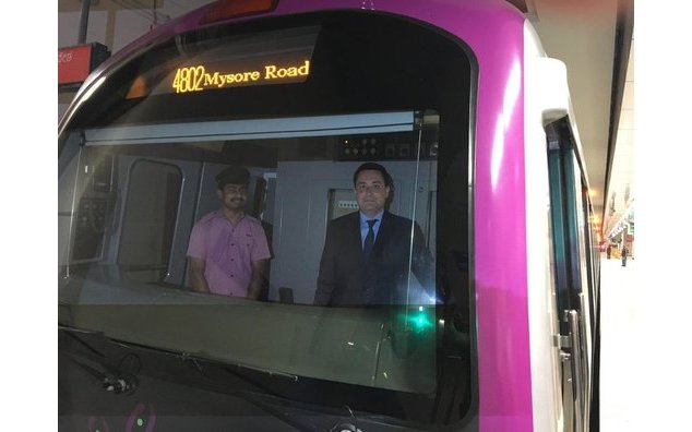 The French Ambassador experiences the Bangalore metro ride in the driver's cabin