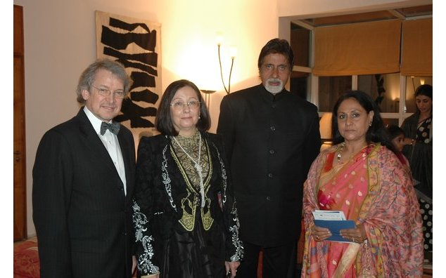 (L to R) Ambassador of France, Mr. Dominique Girard, Mrs. Maud Girard, Mr. Bachchan and Mrs. Jaya Bachchan at the award ceremony