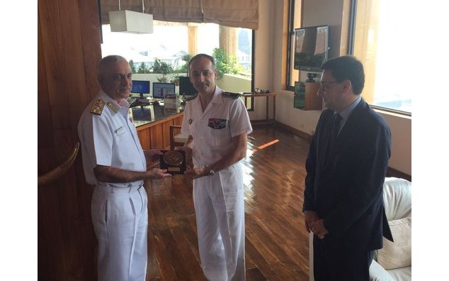 Vice Admiral Luthra, Commanding-in-Chief, Western Naval Command, with the Admiral commanding French maritime forces in