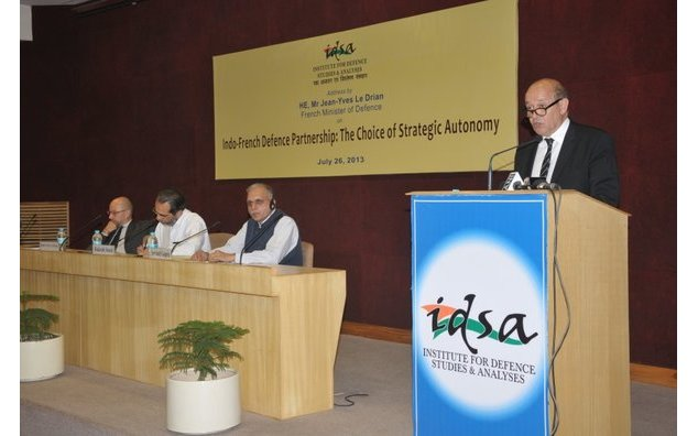 Jean-Yves Le Drian, French Minister of Defence delivers lecture on Indo-French Defence Partnership: the Choice of Strategic Autonomy
