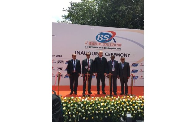 CNES President shares the dias with officials from ISRO