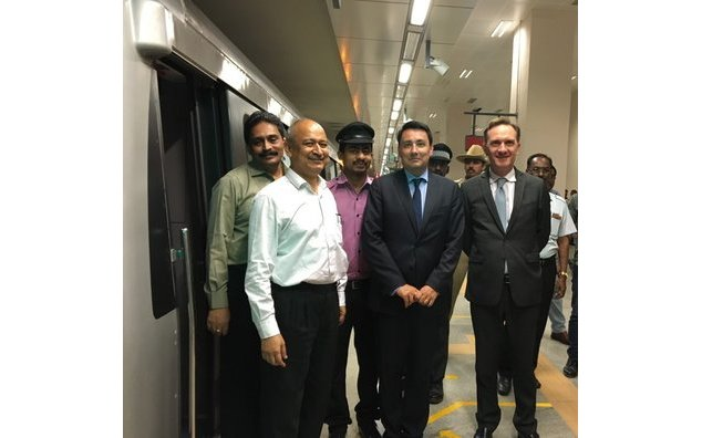 The French Ambassador takes a ride in the Bangalore metro