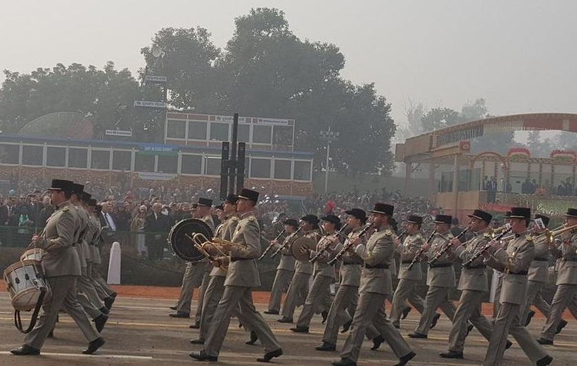 35th Infantry Regiment of France and the Musical Infantry Regiment marched along with Indian troops in the Republic day parade. - JPEG